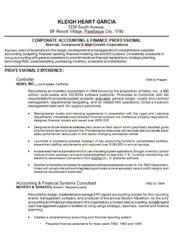 Samples Of Professional Resume Formats You Can Use In Job
