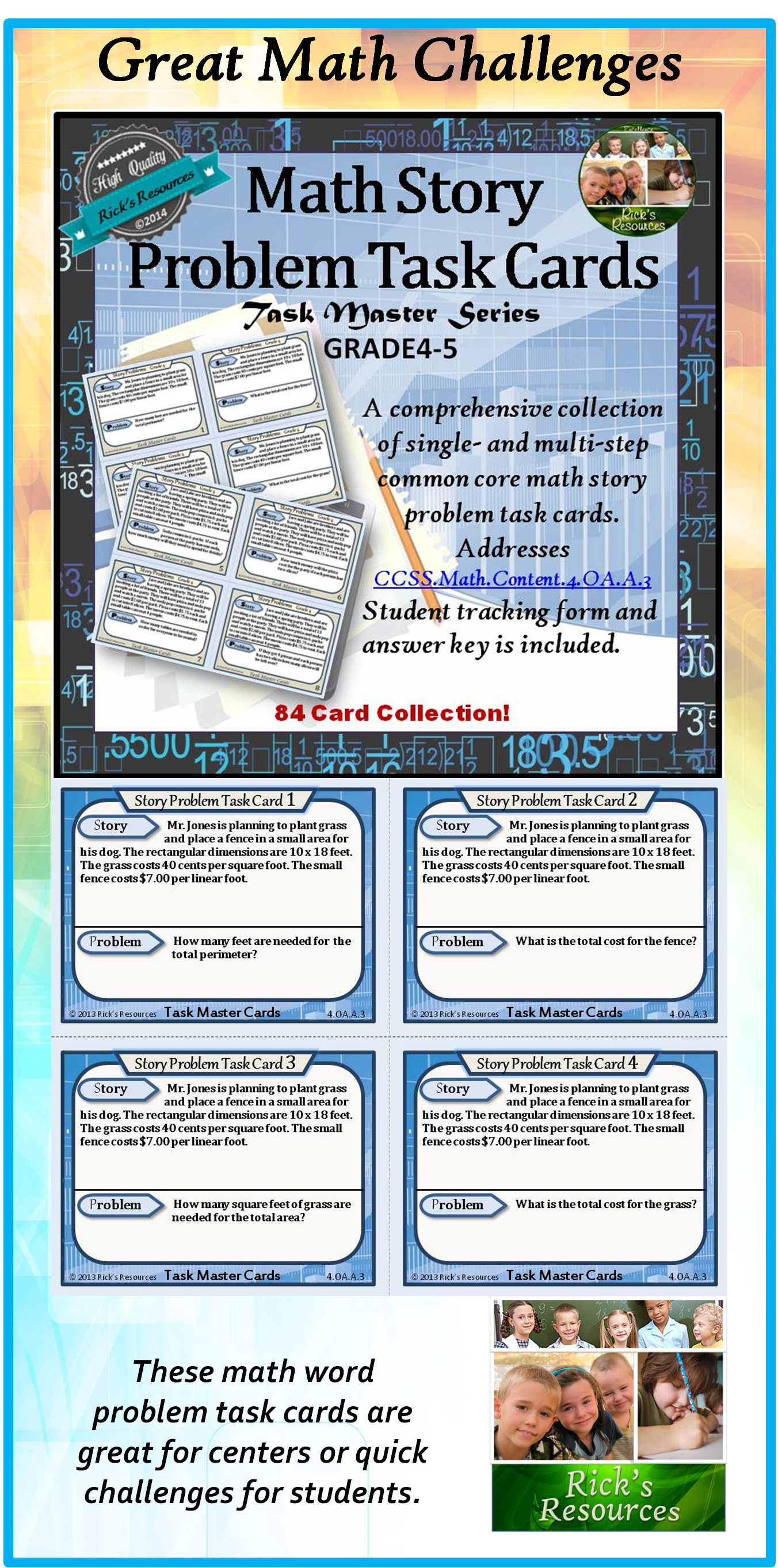 Math Multi-Step Word Problem Activities Cards for 4th grade and 5th ...