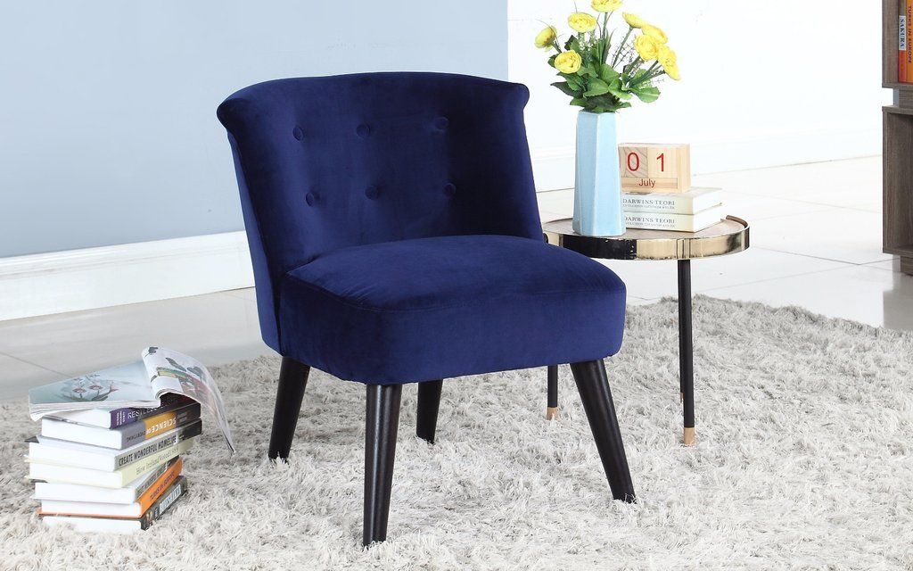 Roger Velvet Accent Chair With Tufted Details In Navy Fabric
