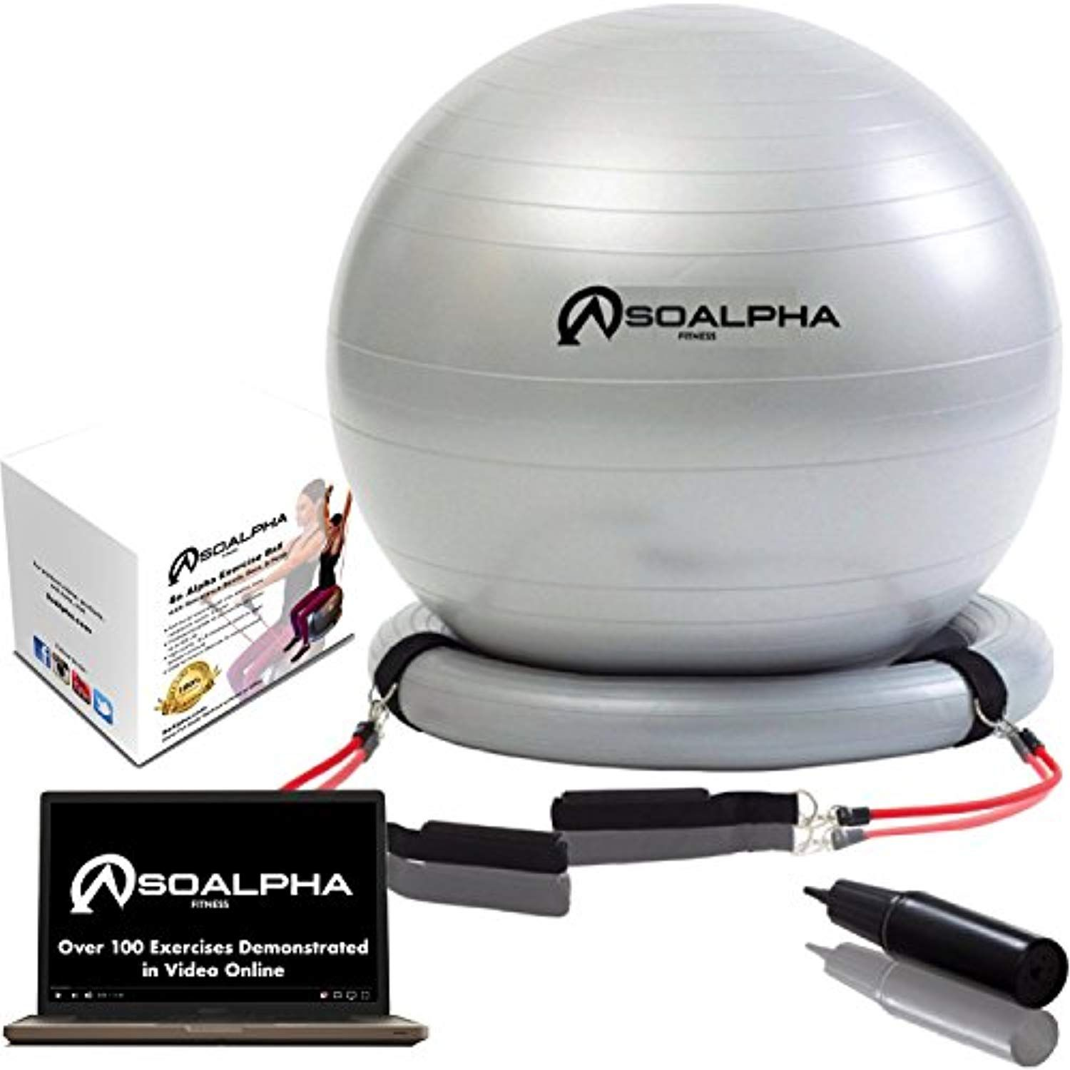 So Alpha Premium Exercise Ball with 15LB Resistance Bands
