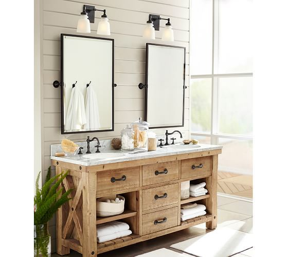 Benchwright Single Sconce Potterybarn Rustic Master Bathroom Bathroom Remodel Master Farmhouse Master Bathroom