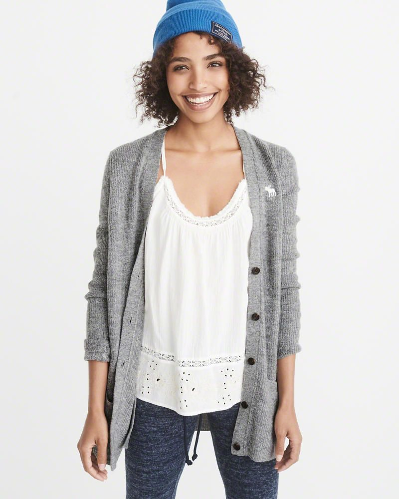 A&F Women's Icon Shaker Cardigan | Icons and Clothes