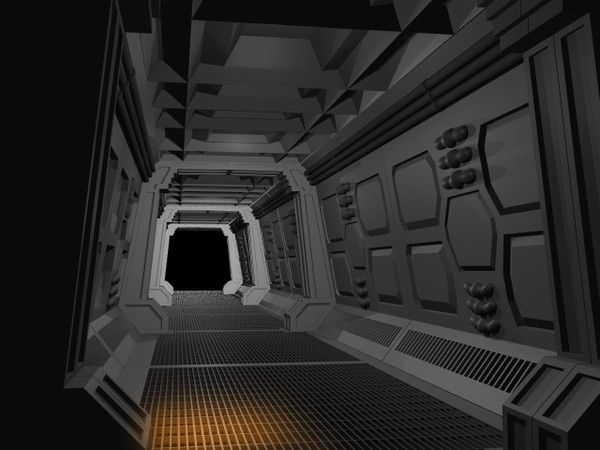 Spaceship interior 1 hallway 3d lwo spaceship interior for Interior nave espacial