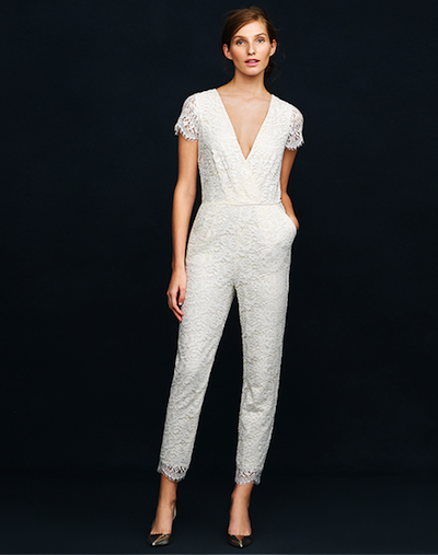 J Crew S Eyelash Lace Bridal Jumpsuit Available Now For Pre Order At Jcrew Com Done And Done Jcrew Wedding Dress Jcrew Wedding Bridal Jumpsuit