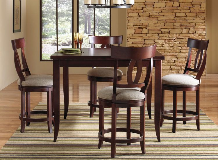 Our wood high dining sets come in the table size, wood color, and upholstery options of your choice. Our high dining wood dining tables also come in the other shapes we offer. You can also choose any chair with any table. You are the designer in you own custom creation! Please call or contact us for details.