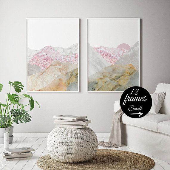 10 Off Framed Art Sets Of 2 Landscape Nature Lover Gift Mountain