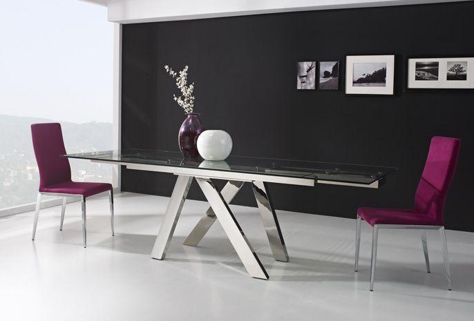 Mesa extensible de cristal transparente y o 4 sillas for Mesas de comedor cristal transparente