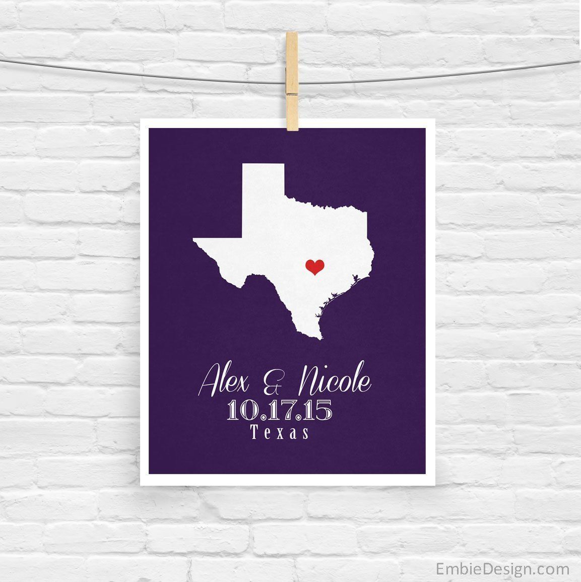 1 ANY STATE Map Art Print Wedding Engagement Bridal Shower Special Date. This beautiful map print print makes a great gift. You can customize it with any state or country and the couple's names. Personalized art prints make any house feel like home!.