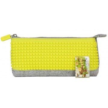 pixel pencil case grey yellow pixel craze design your own