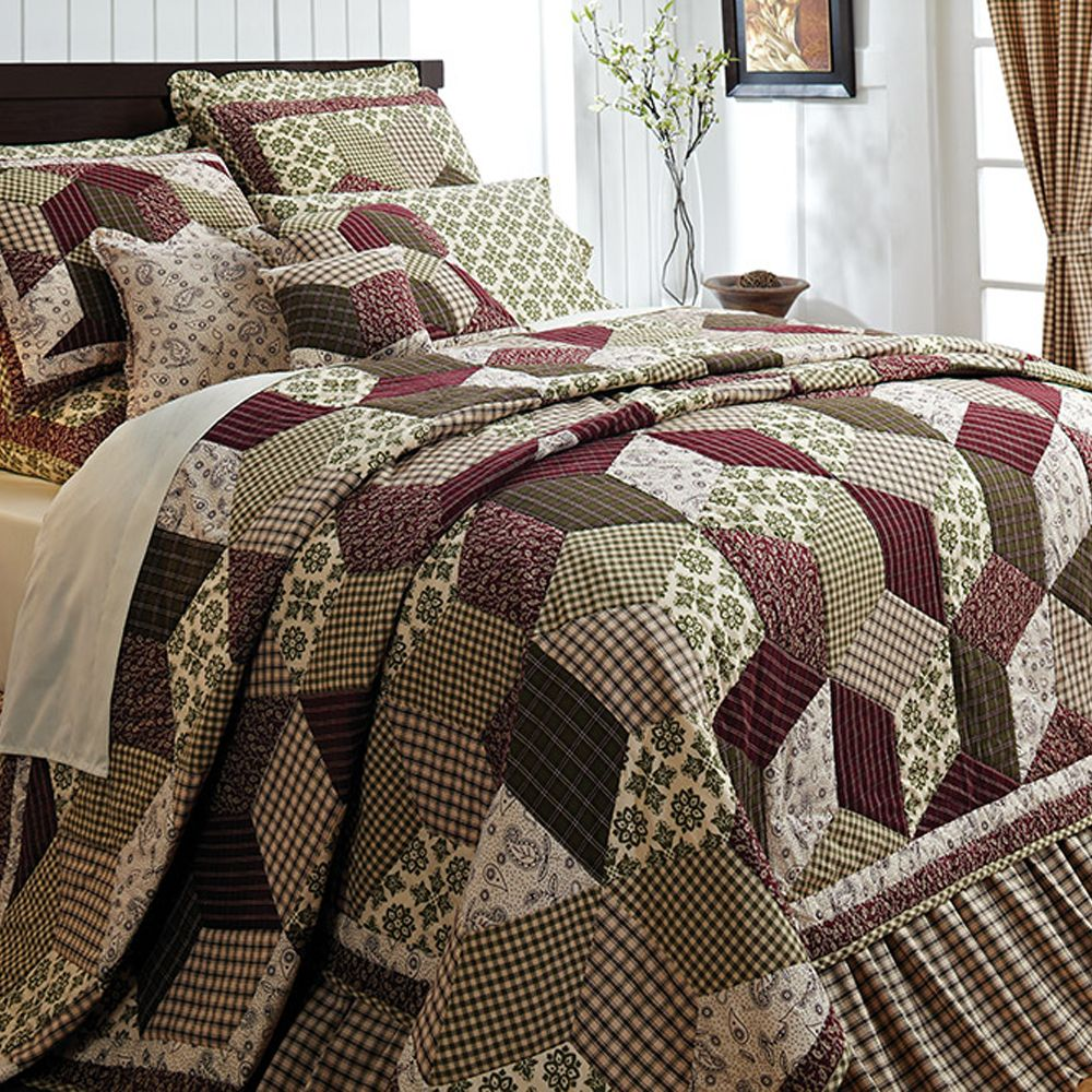 Details about Burgundy Green Country Paisley Block Twin