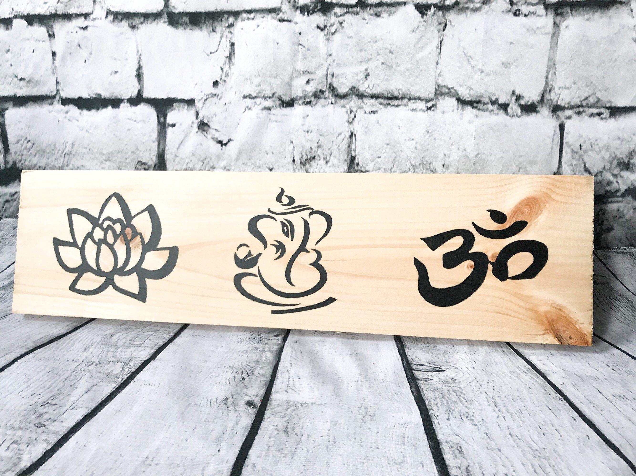 Lotus flower buddha art peace ganesh om boho decor
