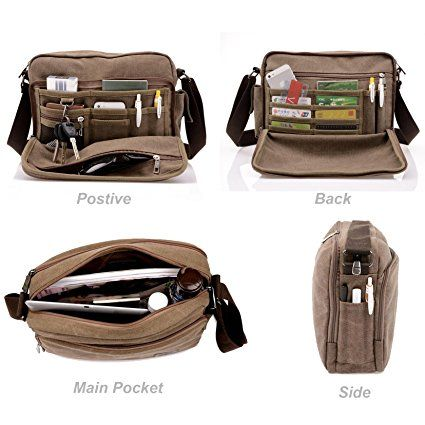 Amazon.com: Harwish Men's Multifunctional Canvas Messenger Handbag Outdoor Sports Over Shoulder Crossbody Side Bag (Coffee-Largesize): Sports & Outdoors  #bag #backpack #briefcase #clothing #style #fashion #school #sports #outdoors #fun #kids