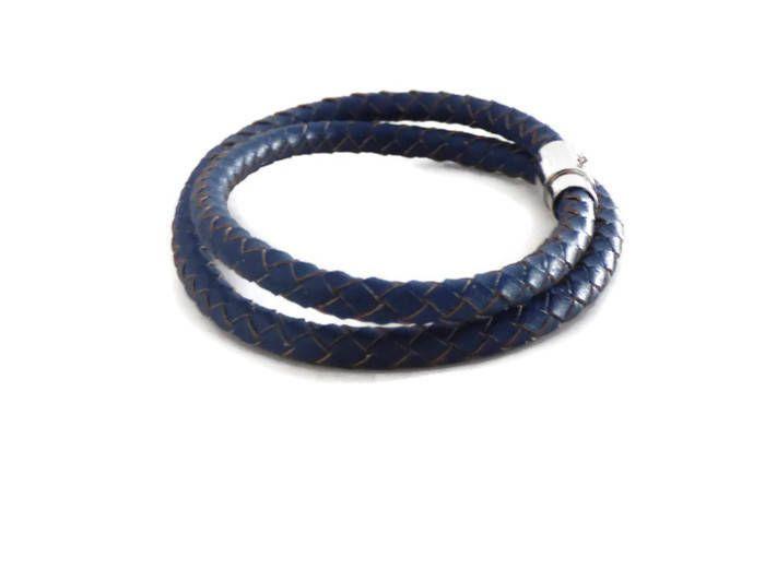 bracelet homme bleu argent fermoir magnetique jules