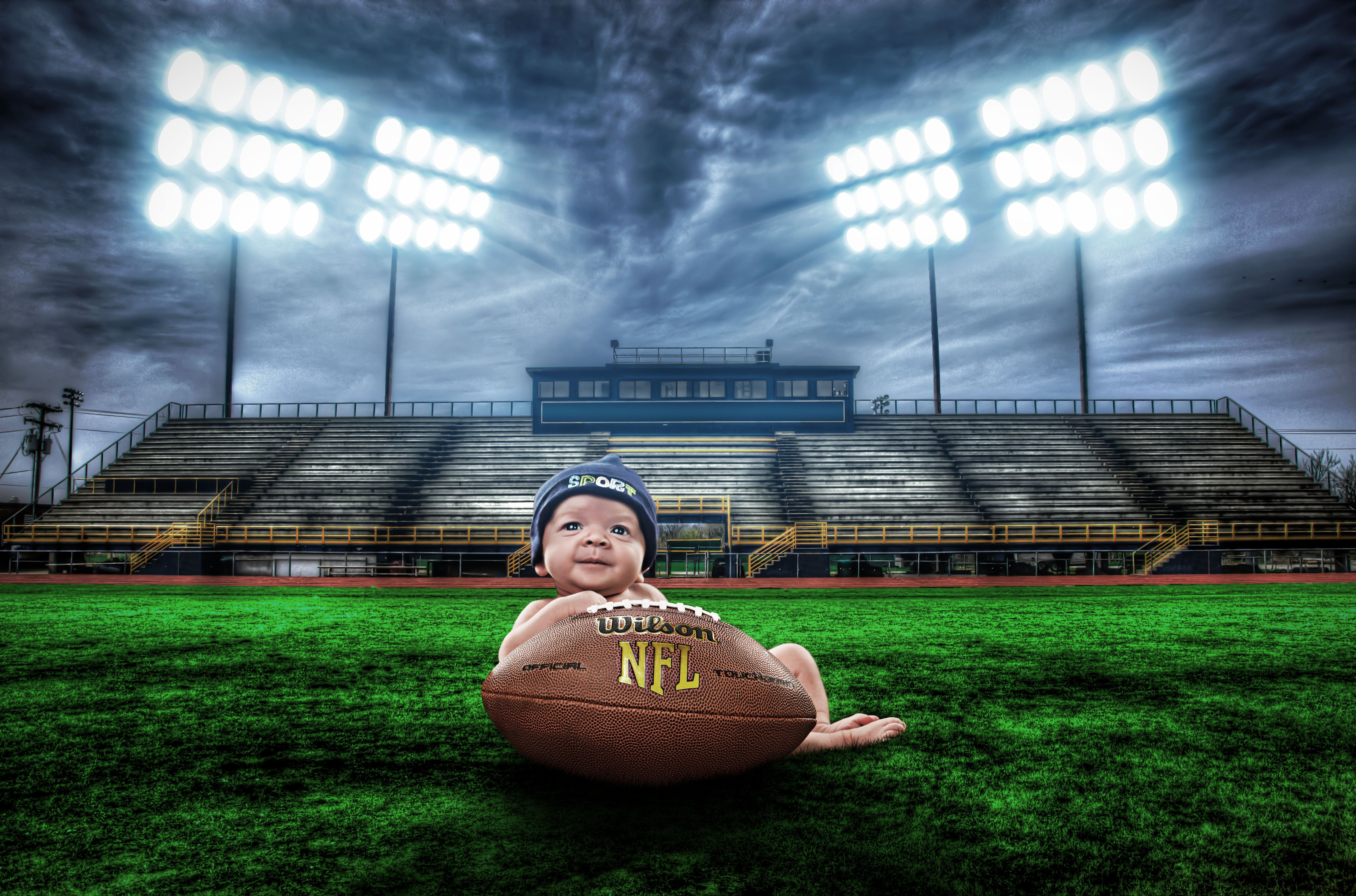 Newborn baby photography football stadium hdr composite lights nfl sports