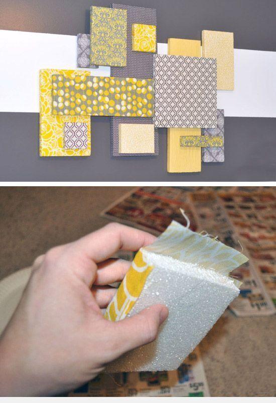 Réalisez votre tableau déco avec des chutes de polystyrène et du tissu !  C est l idée déco du dimanche ! df095e1aa442