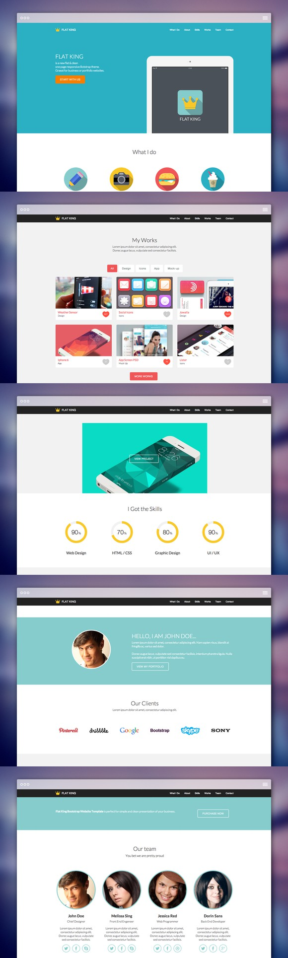 FLAT KING One Page Theme (With images) Bootstrap