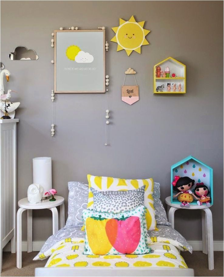 Grey Kids Room: Colours With The Grey, Multicolour Raindrops, Sun Plaque