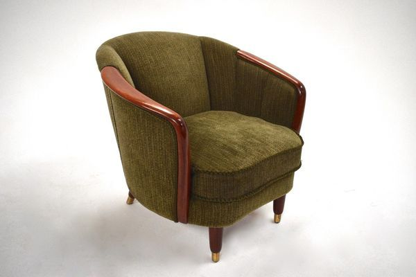 norwegian green fabric velour teak armchair midcentury tub chair