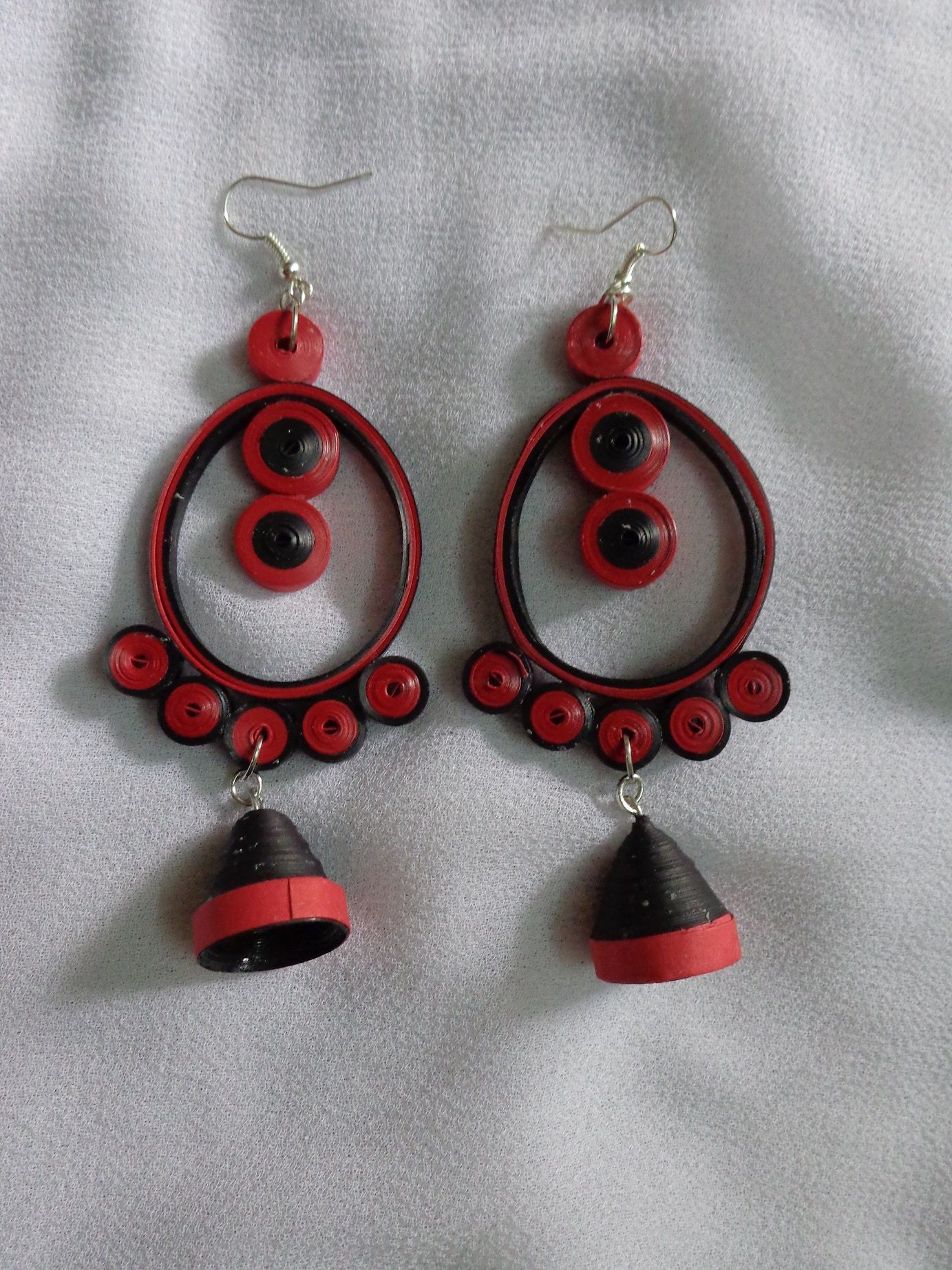 This Red And Black Large Earrings Are Made Up Of Papers Water Resistant Is 10cm Long 5cm Wide Earring