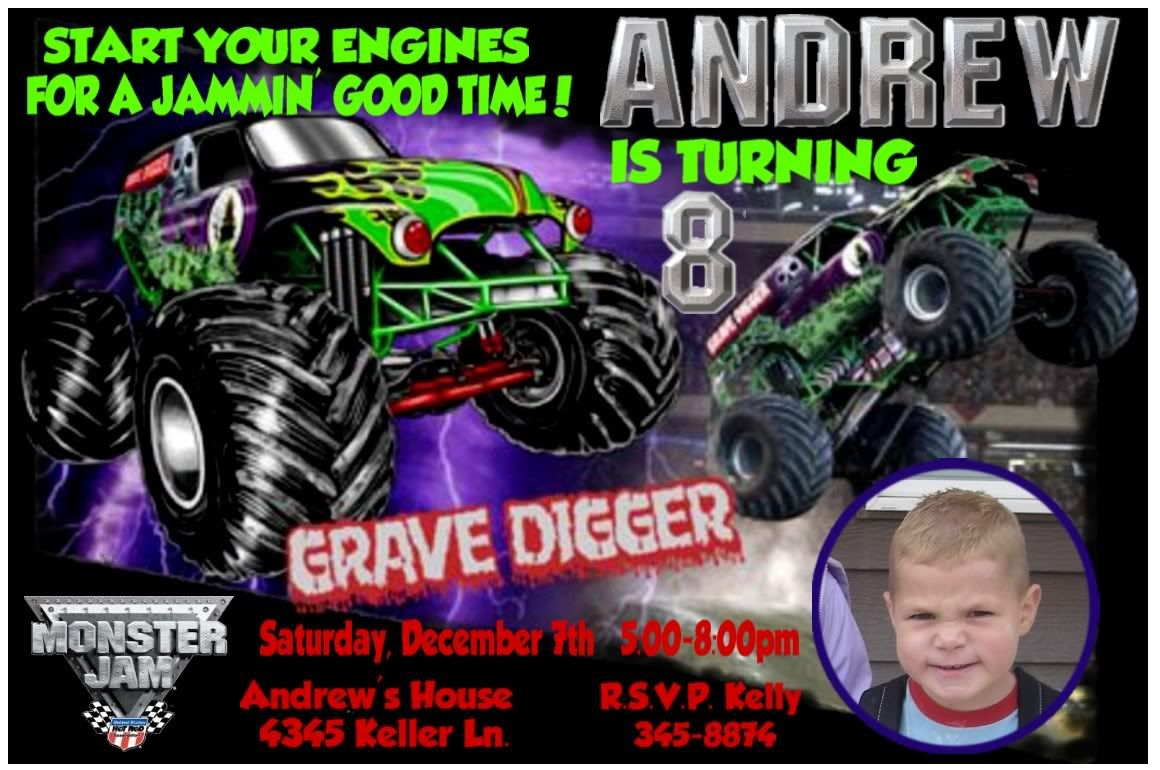 Unique Monster Jam Party Invitations Crest - Invitation Card Ideas ...