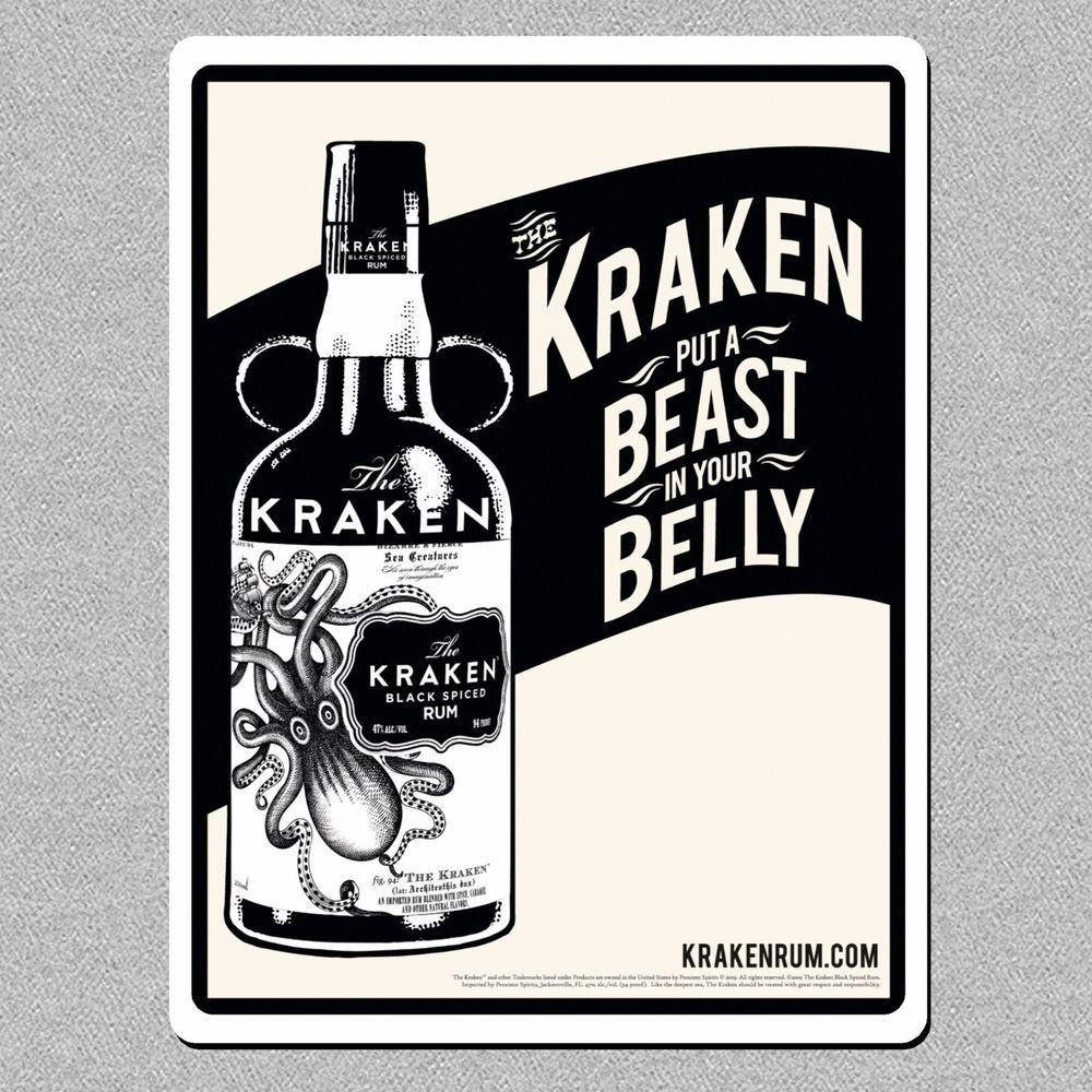 Kraken Rum, Metal Bar Man Cave/Pub Sign/Plaque Vintage