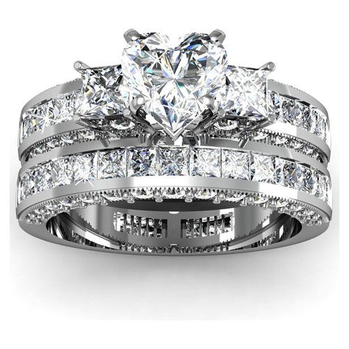 4a62e155ce000 2.15 Ct Heart Shaped 3 Stone Diamond Engagement Wedding Rings Set ...