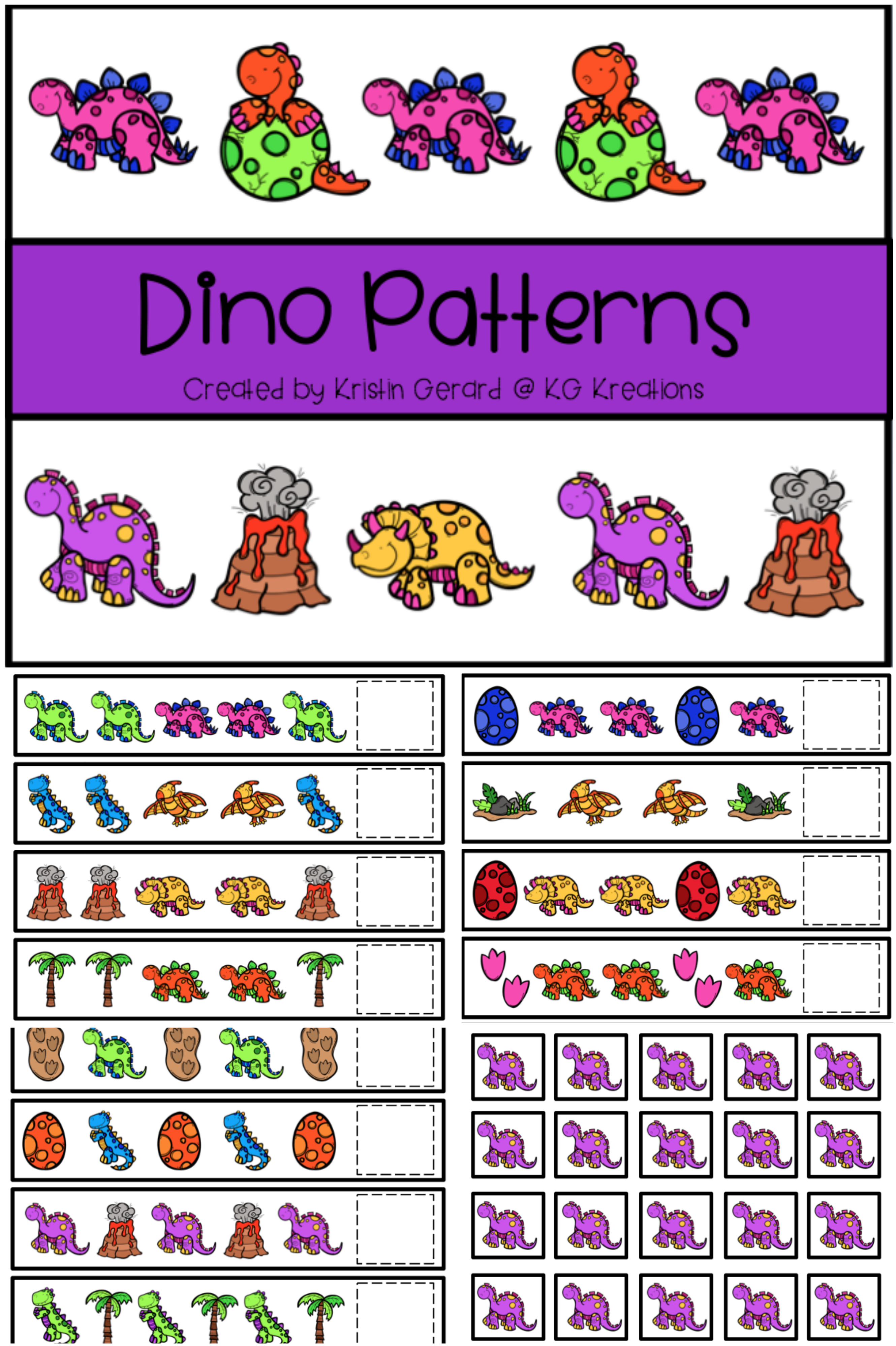 Dinosaur Pattern Cards With Images