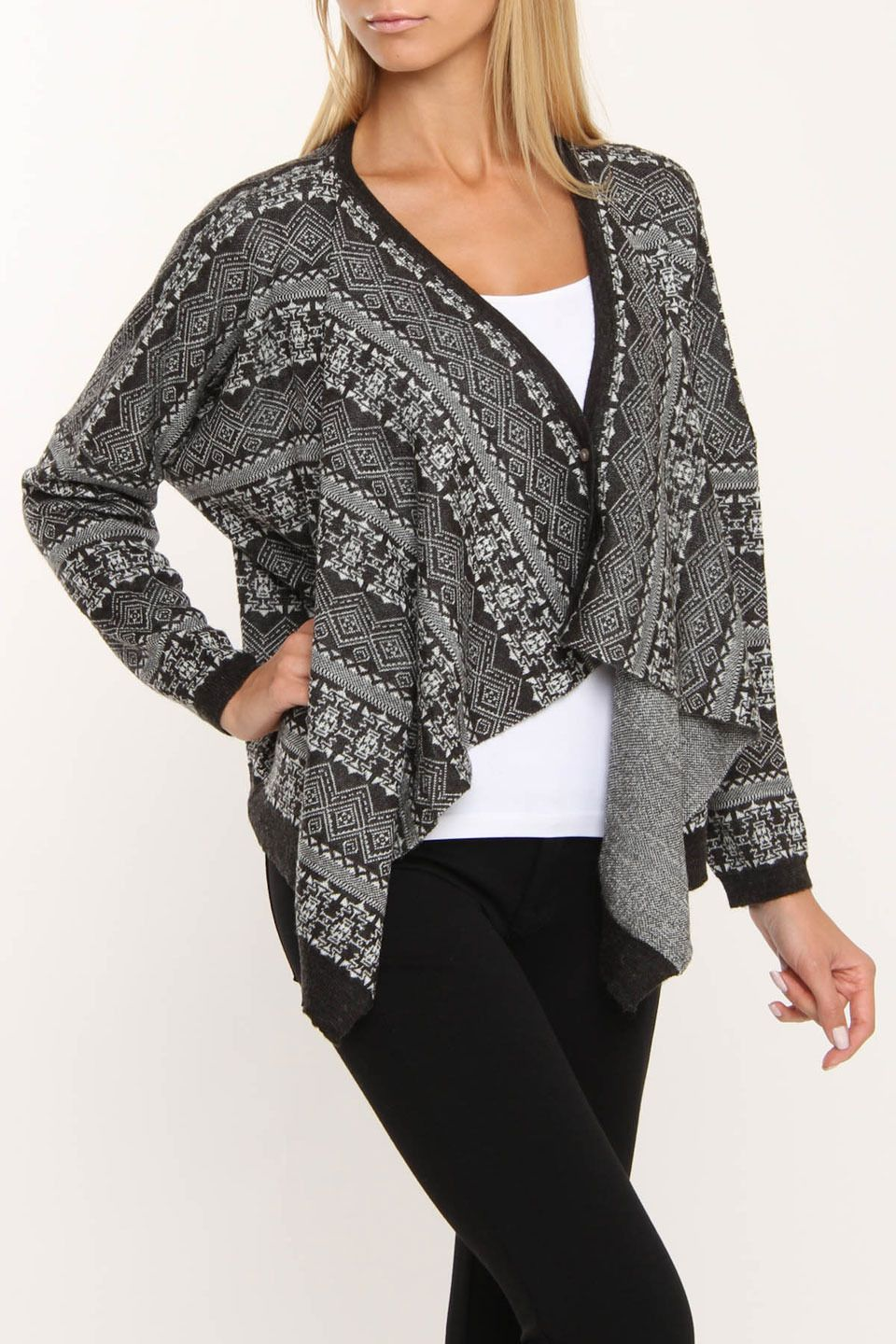 Printed Wrap Sweater