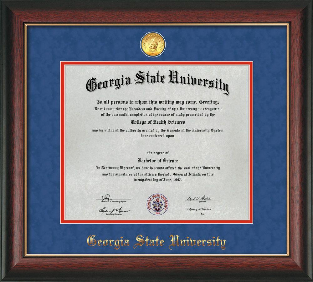 Gsu Diploma Frame Rose Gold L W Gsu Medallion Blue Suede Red Mat Professional Framing Company Georgia State University Diploma Frame University Diploma