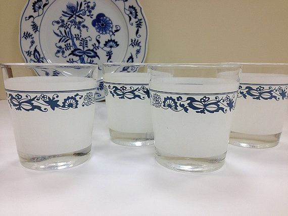 Corelle Glasses Old Town Blue Danube Blue By Vintage19something