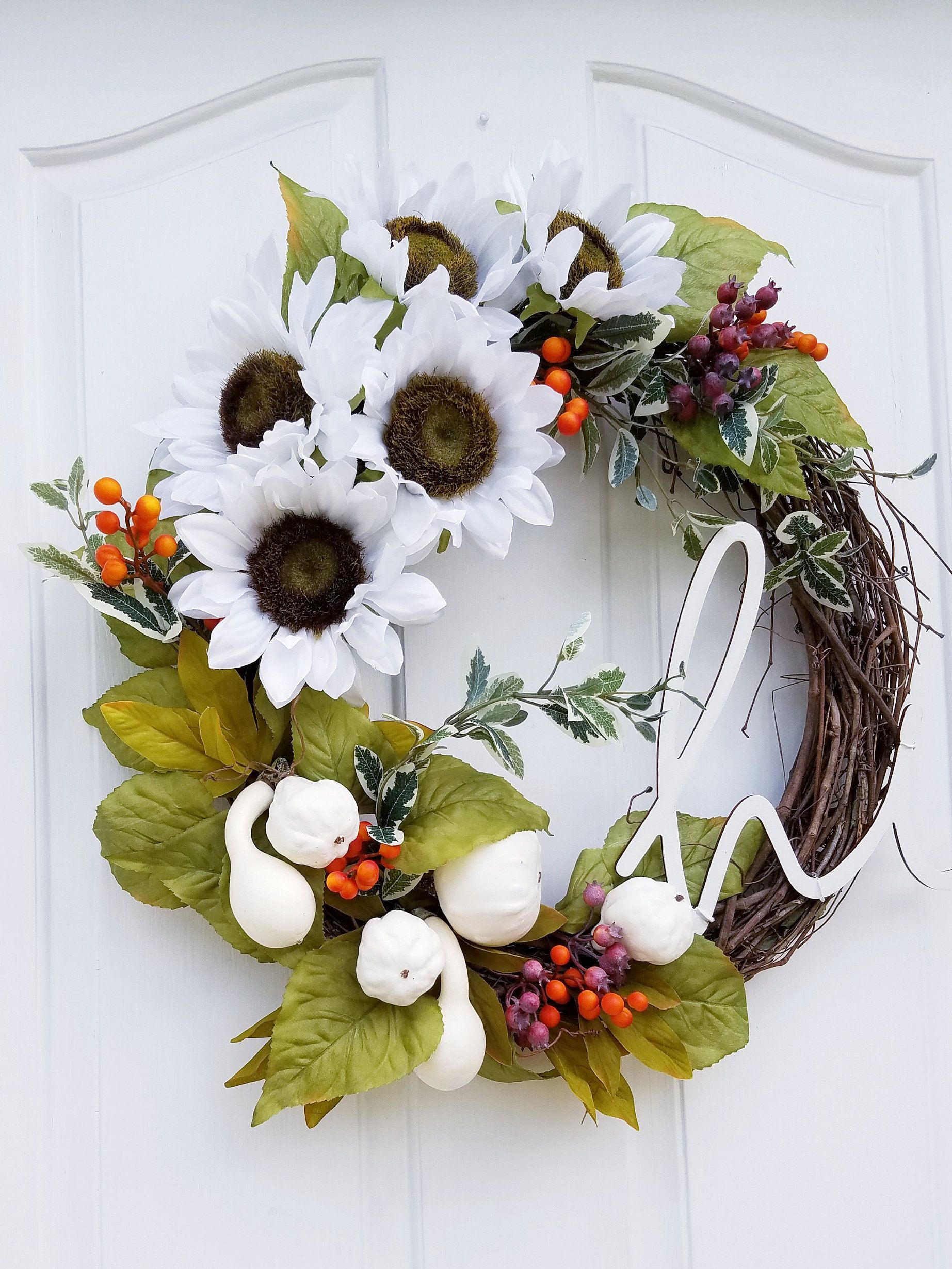 Photo of Sunflower Wreath for Front Door, Fall Wreath with Hi Sign