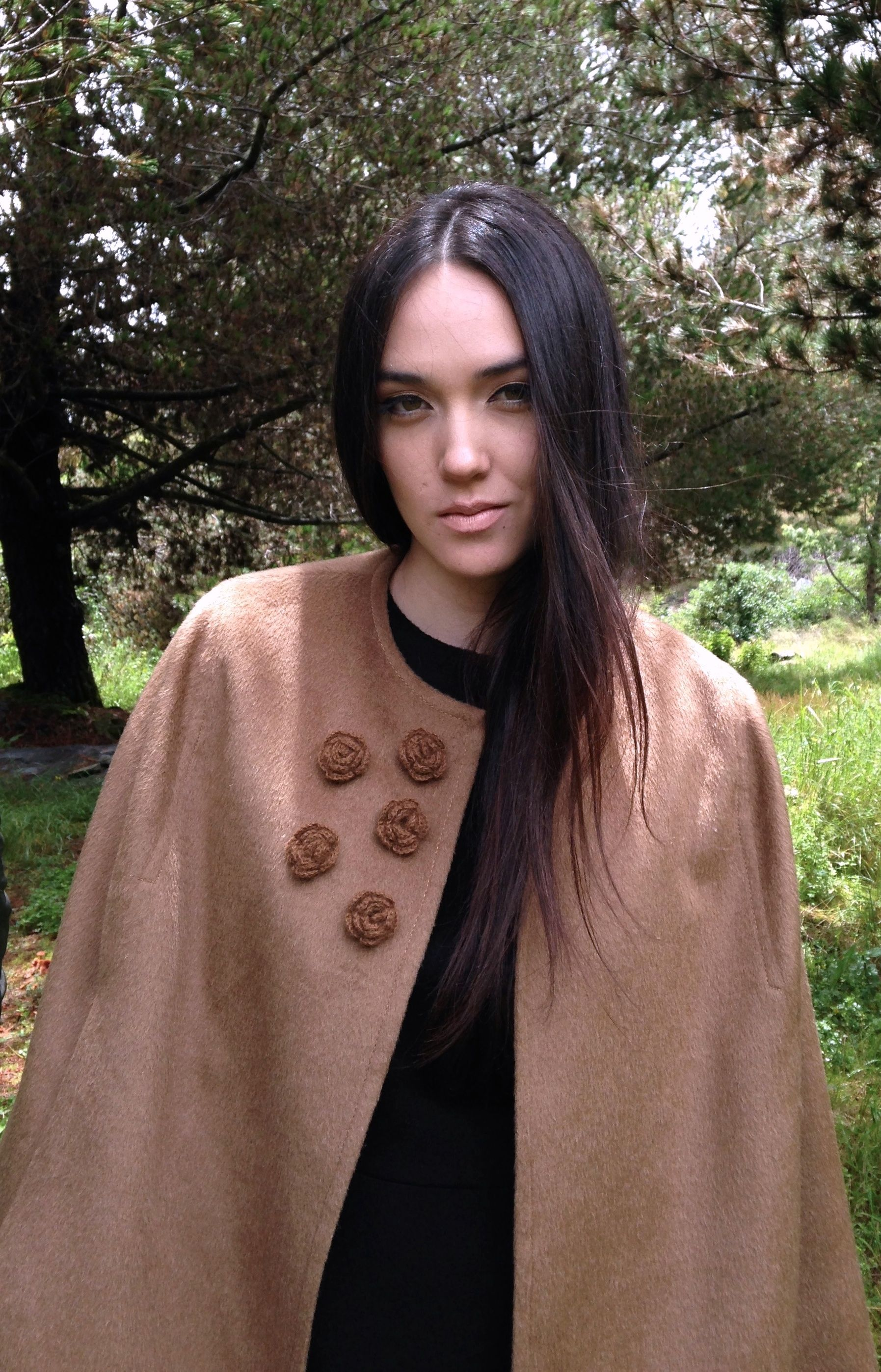 Cape Baby Alpaca with hand made flower details. Luxury outwear !