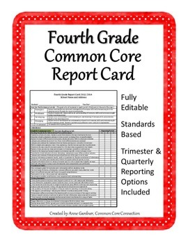 Fourth Grade Common Core Report Card Editable  Fits On One