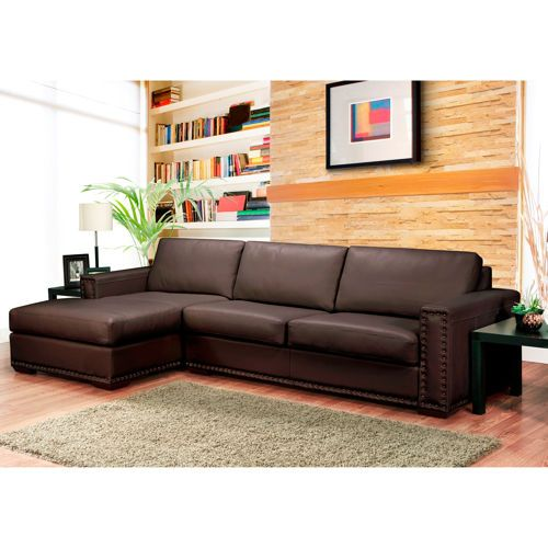 Trieste Brown Leather Sectional With Nailhead Detail Costco Ca Brown Leather Sofa Sofa Leather Sofa