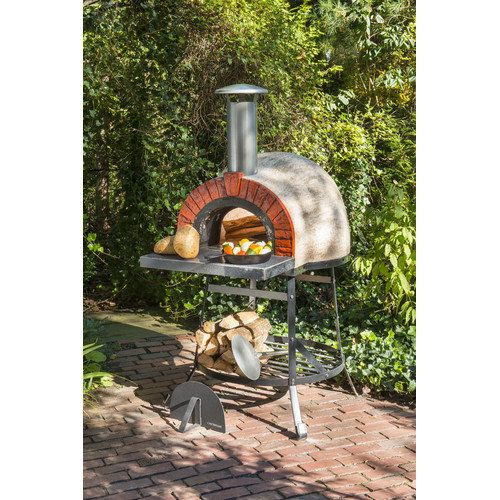 Rustic Unpretentious Cedar Furniture Outdoor Wood Fired Oven With Red Brick Arch