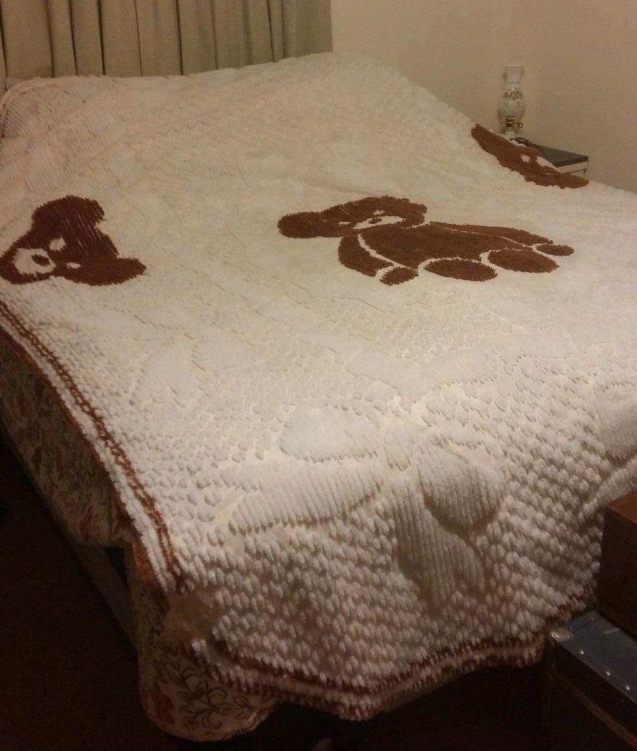 Vintage Teddy Bears Bows Chenille Bedspread Blanket 86x108 Twin Full Sears | eBay