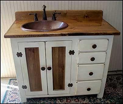 Rustic Farmhouse Vanity Copper Sink 42 Off White Bathroom