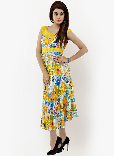 e6b65587ce5f Buy Shakumbhari Yellow Colored Printed Maxi Dress for Women Online India