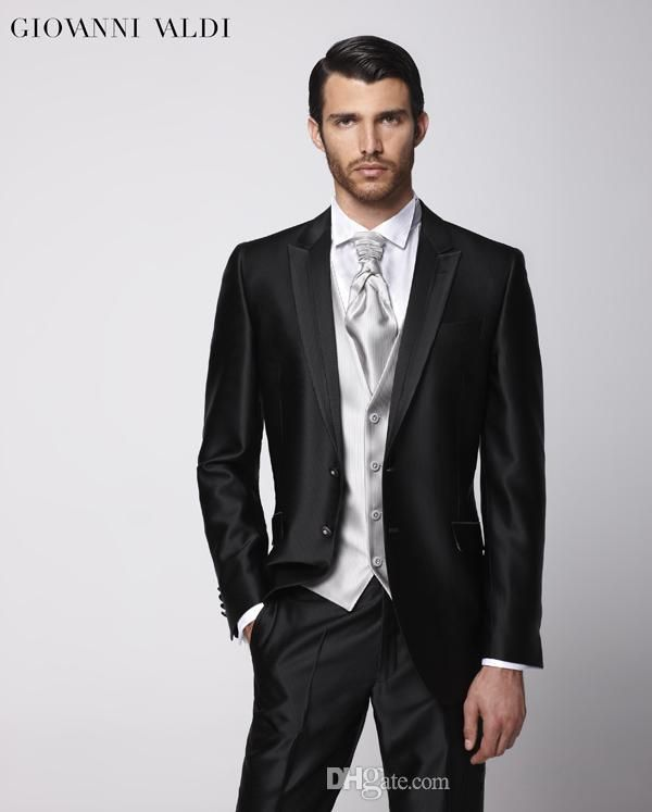 Black Mens Suit mens wedding tuxedo 2015 prom suits Groom Tuxedos ...