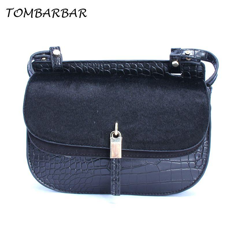 ca0b610f65 TOMBARBAR Alligator Leather Women Handbag New Fashion Shoulder Bag Small  Casual Black Bags Ladies Fur Shoulder