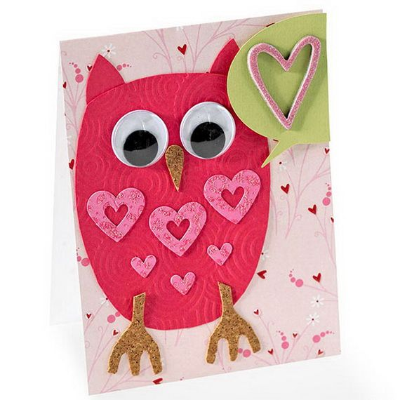 handmade owl Valentine ... Unique Homemade Valentine Card Design ...