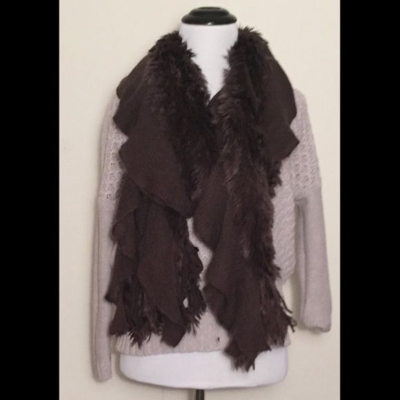 "Knitted Faux fur long brown scarf ➖CONDITION : NWOT ➖SIZE: 54"" long by 7"" wide  ➖STYLE: This long scarf is half knitted and the other half is super soft faux fur. Entropy Accessories Scarves & Wraps"
