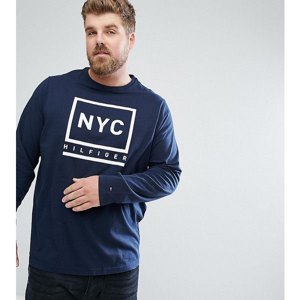 Tommy Hilfiger PLUS Long Sleeve Top Tyson NYC Logo Print in Navy ($62) ❤  liked on Polyvore featuring men's fashion, men's clothing, navy, old navy  mens ...