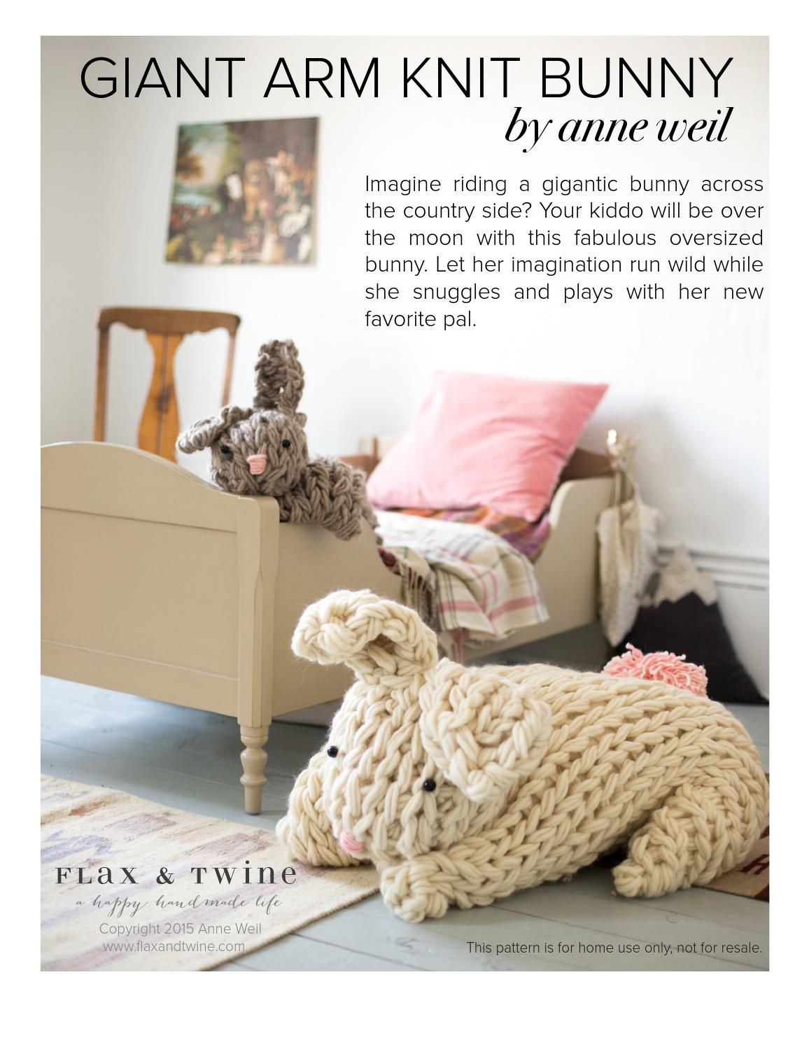 Photo of Anne Weil's Arm Knit Bunny Pattern for Sweet Paul Magazine
