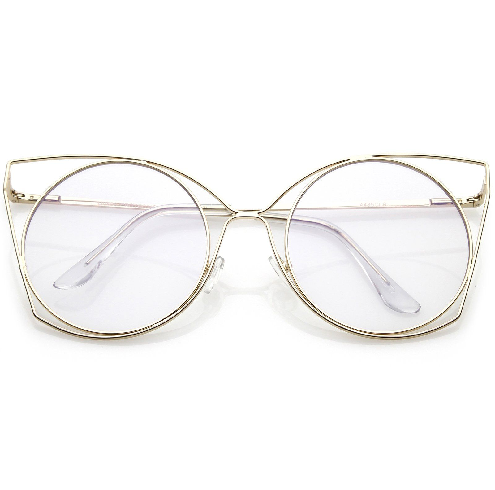 6b69e15b06c Oversize Slim Metal Cutout Cat Eye Glasses With Clear Flat Round Lens 58mm   frame  clear  cateye  summer  womens  bold  oversized  sunglasses  purple    ...