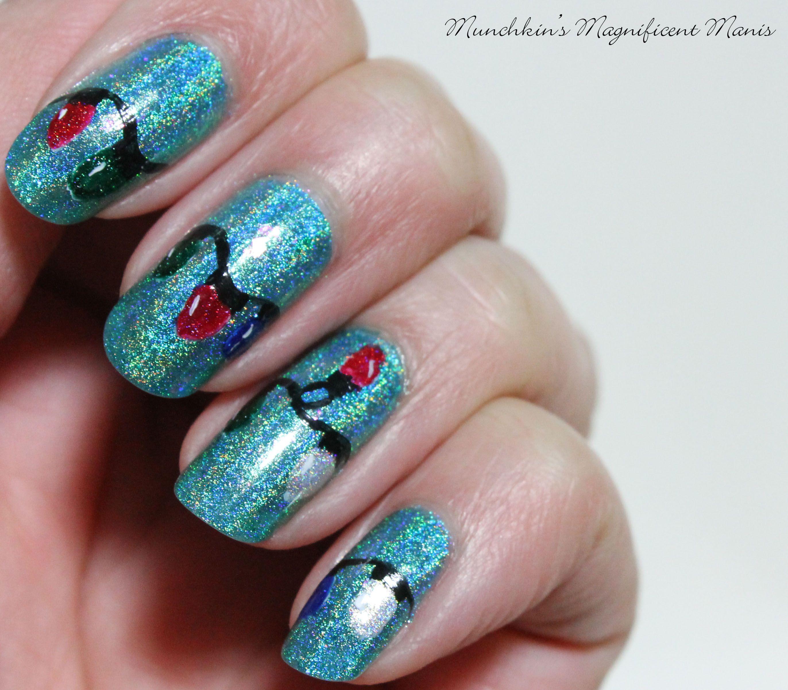 christmas light nail design