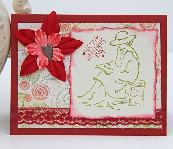 Mother's Day Card Reading Woman Notecard in Red And by CarolaBartz, $3.00