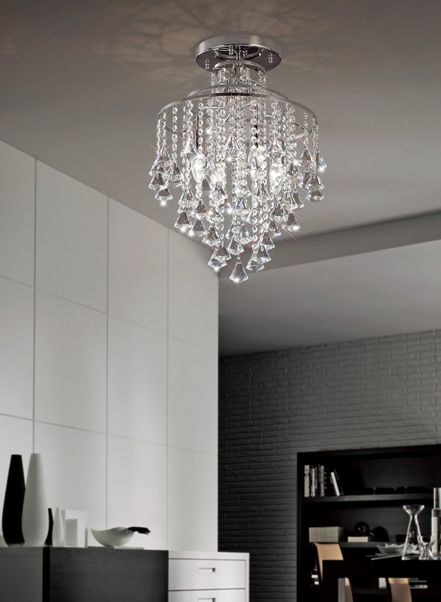 Ceiling Chandelierdiningroomlowceiling Chrome Crystal Fitting Frame Polished S In 2020 With Images Low Ceiling Chandelier Dining Room Chandelier Crystal Chandelier Bedroom