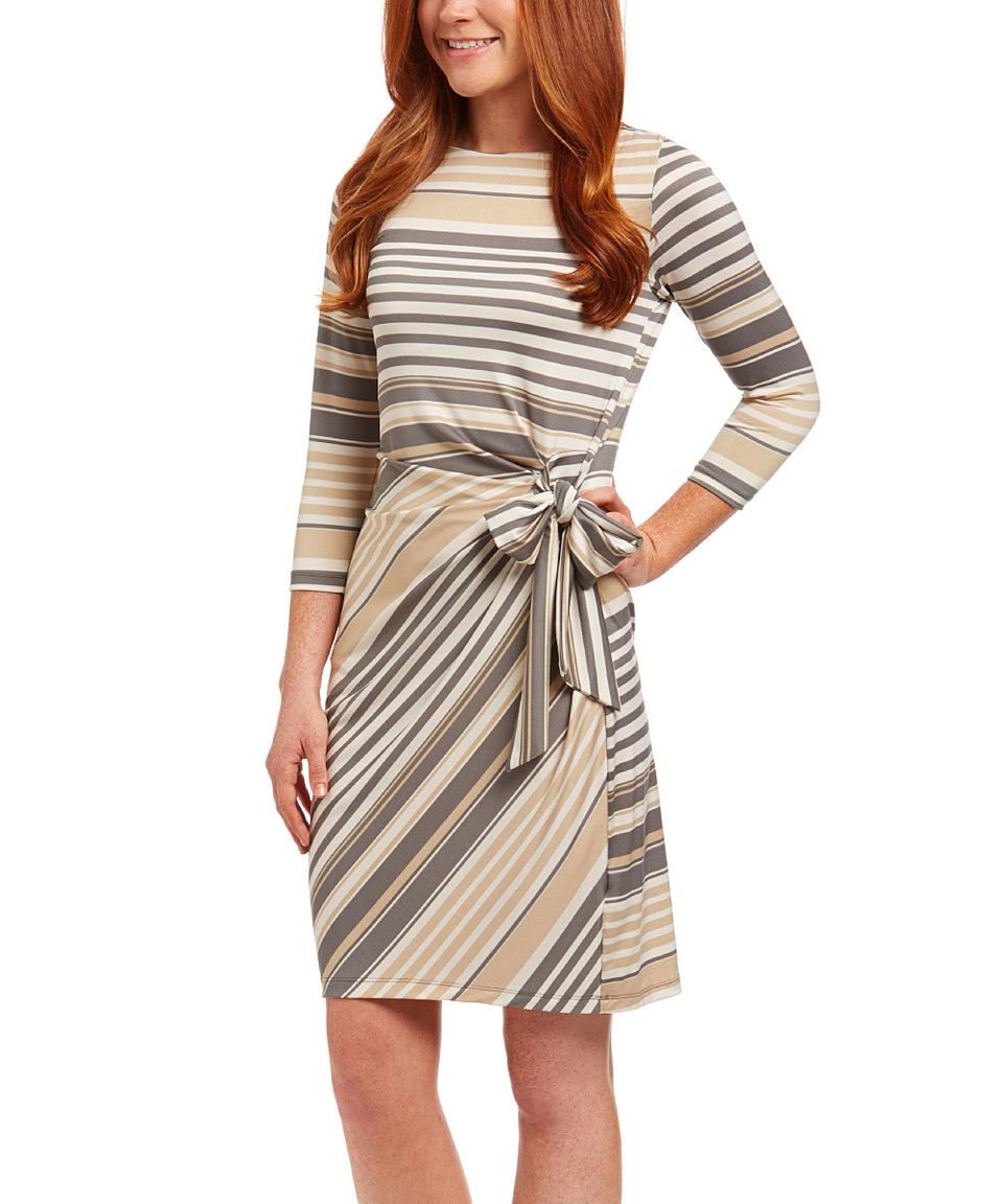 Loving this charcoal ivory u tan stripe wrap dress on zulily