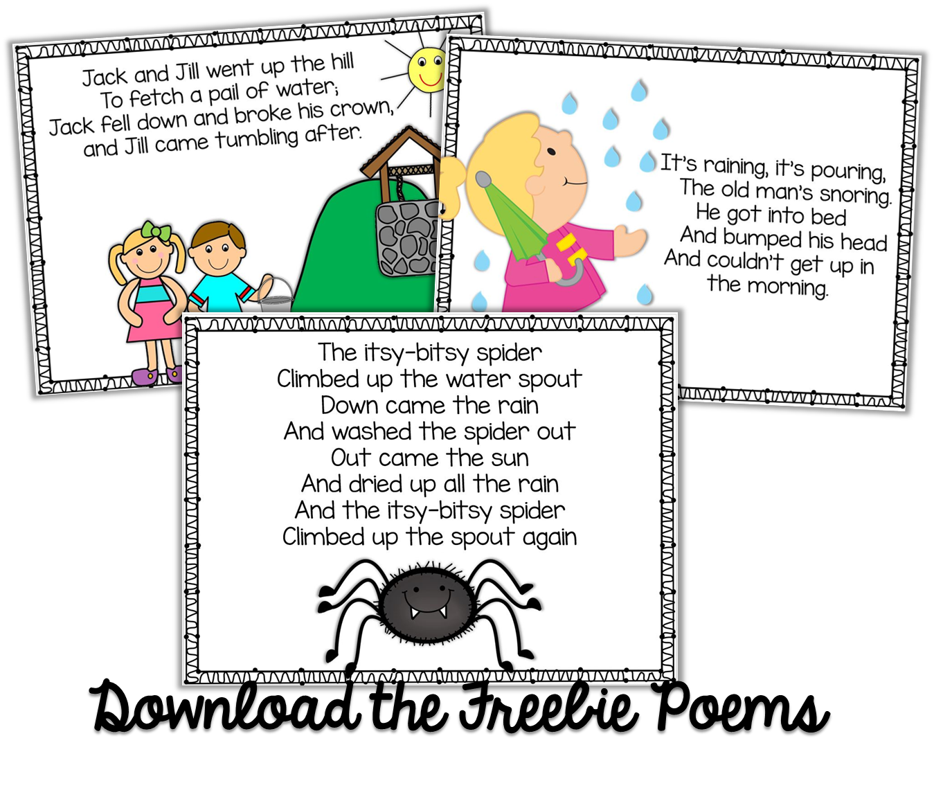 Freebie Kindergarten Weekly Poems